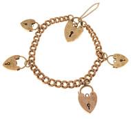 Vintage English 5 Heart Lock Charms 9k Pink Gold Hollow Link Mechanical Bracelet