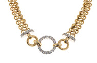 Estate BB Designer 14k Yellow Gold Two Row Chain Link Diamond Circle Bracelet