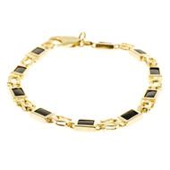 Estate 14k Yellow Gold Horseshoe Link 10 Section Rectangular Black Onyx Bracelet
