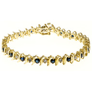 Estate 14k S Link Yellow Gold S Link Patterned Blue Sapphire & Diamond Bracelet