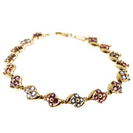 Estate 14k Yellow Gold Genuine Round Multi Stone Tourmaline Topaz Link Bracelet
