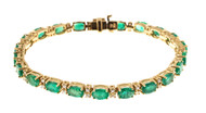 Estate 14k Hinged Link 11.44ct Oval Green Emerald & Round Diamond Bracelet