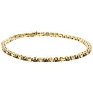 Estate Patterned 14k Yellow Gold Round Sapphire & Diamond Tennis Bracelet