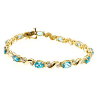 "Estate Oval Bright Blue Topaz 14k Yellow Gold Hinged ""S"" Link Diamond Bracelet"