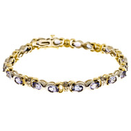 Oval 20 Purple Iolite 5.00ct 14k Yellow White Gold Diamond Hinge Link Bracelet