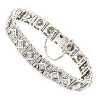 Vintage 1.60ct Old European Cut Diamond Platinum Top 14k White Gold Bracelet