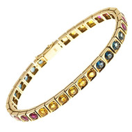 Vintage 10.88ct Ruby Blue Yellow Sapphire 14k Yellow Gold Bracelet