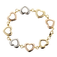 Estate JCM Tri Color Gold Heart Link Bracelet 14k