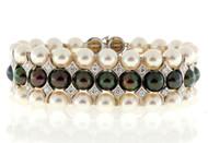 Estate 1950s 3 Row Akoya Black & White Pearl & Diamond 14k White Gold Bracelet