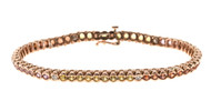 5.50ct Multi Color Sapphire Full Cut Diamond 14k Pink Gold Hinged Link Bracelet