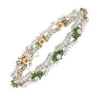 Emerald Diamond White Gold Bracelet c1950-1960