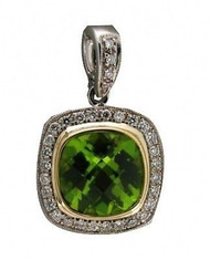 Estate Cushion Cut Green Peridot 2.80ct and Pave Diamond 14k Pendant Enhancer