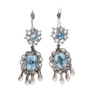 Vintage Earrings Chandelier 8.12ct Round Oval Blue Topaz Dangle 14k White Gold
