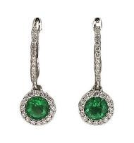 Bright Green Genuine Emerald 14k White Gold Diamond Pierced Earrings