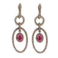 172 Full Cut Diamond 14k White Gold Oval Pink Sapphire 5 Section Dangle Earrings