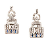 Art Deco 1920s 2.00ct Diamond Calibre Blue Sapphire Platinum Dangle Earrings