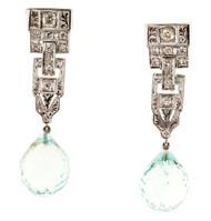 Vintage 20.50ct Aqua Briolette Art Deco Engraved Platinum Dangle Earrings