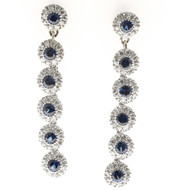Vintage 6 Section .60CT Sapphire .60CT Diamond 14k Gold Hinged Dangle Earrings