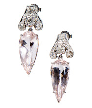 Peter Suchy Morganite Diamond Platinum Dangle Earrings