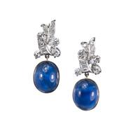 Vintage 14.22ct Fine Cabochon Sapphire 14k Gold Diamond Dangle Earrings