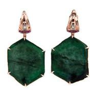 Vintage 60.00ct Natural Emerald Crystal Art Deco 14k Pink Gold Earrings