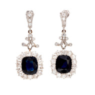 Royal Blue Natural Cushion Sapphire Diamond Earrings
