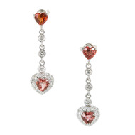 Vintage 1.50ct Orange Heart Sapphire .40ct Diamond 14k Gold Dangle Earrings