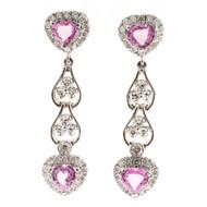 Vintage 2.40ct Heart Pink Sapphire 14k White Gold .58ct Diamond Dangle Earrings