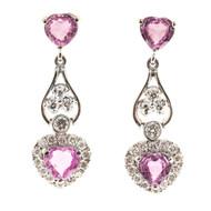 Vintage 2.30ct Heart Pink Sapphire 14k White Gold .29ct Diamond Dangle Earrings