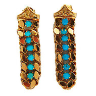 Vintage 1950 Retro 14K Pink Gold Bright Blue Stones Post Top Dangle Earrings
