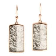 Vintage 26.46ct Transparent Quartz Crystal Peter Suchy 18k Pink Gold Earrings