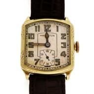 Art Deco 1939 Hamilton Green Gold Strap Watch Original Dial And Hands