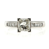 1.02ct Princess Cut Platinum Certified Engagement Ring Channel Set Sides