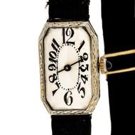 Art Deco 1925 Ladies White Gold Watch Ribbon Band