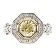Octagonal 8 Sided Natural Fancy Light Yellow Platinum Diamond Ring