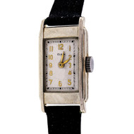 Art Deco 1932 Vintage Elgin 14k White Gold Black Satin Strap Watch