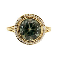Antique Art Deco 2.60ct Blue Zircon Pearl 14k Yellow Gold Ring