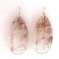 Rare 83.06ct Quartz Crystal Earrings 18k Earrings Copper Rutile
