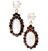 Vintage Top Gem Fine Natural Garnet Blue Oval Moonstone 14k Pierced Earrings