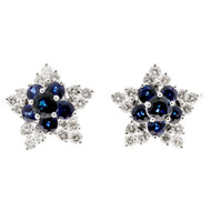 Star Cluster 2.82ct Sapphire 1.32ct Diamond GP 18k White Gold Earrings