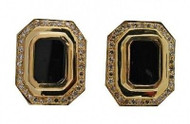 Estate 18k Yellow Gold Jet Black Onyx & Outer Row 66 Diamond Clip Post Earrings