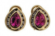 Estate 14k Gold Pear Pink Tourmaline & Full Cut Diamond Clip Post Earrings