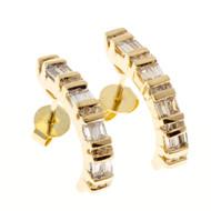Vintage Estate Cbi Baguette & Round Diamond 14k Yellow Gold Curved Hoop Earrings