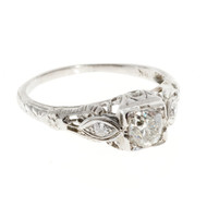 Antique Art Deco Engagement Ring .33ct Cushion Diamond 18k White Gold