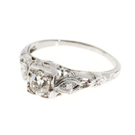 Antique Art Deco Engagement Ring .33ct Cushion Diamond 18k White Gold