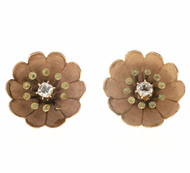 Vintage Victorian Pink Green Gold .14CT Cushion Old Mine Diamond Flower Earrings