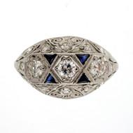 Antique Art Deco 1920 Old European .70ct Diamond Dome Ring Platinum