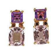 Vintage Art Deco Style 2.08ct Amethyst 9.28ct Morganite 18k Gold Dangle Earrings