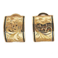 3/4 Inch Domed Earrings Hand Engraved Black Enamel Striped Edge Clip And Post