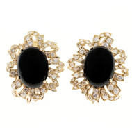 Estate 1930 Hand Made Pierced Cut Out 14k Onyx 2.00ct 120 Diamond Earrings